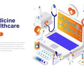 Medicine healthcare isometric concept template vector