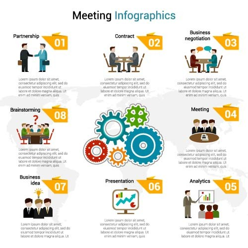 Meeting infographic template vector