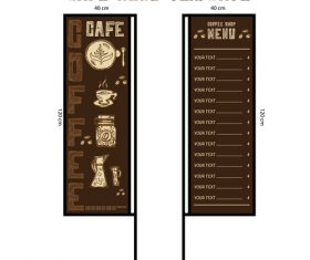 Menu cafe banner flag template vector 01