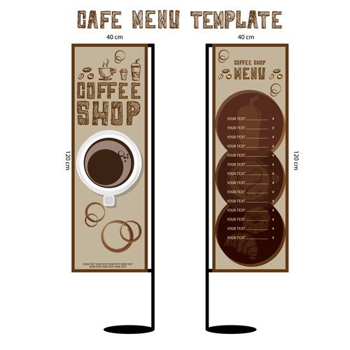 Menu cafe banner flag template vector 02