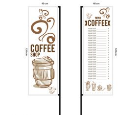 Menu cafe banner flag template vector 07