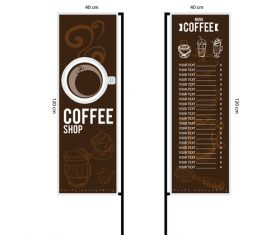 Menu cafe banner flag template vector 08