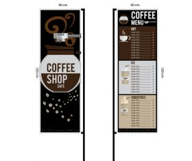 Menu cafe banner flag template vector 10