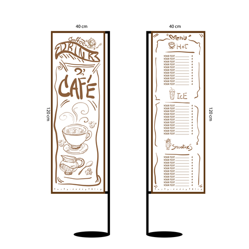 Menu cafe banner flag template vector 11