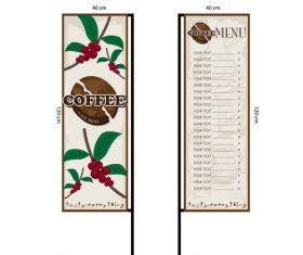 Menu cafe banner flag template vector 15