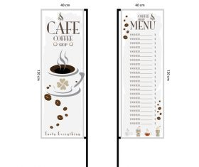 Menu cafe banner flag template vector 16