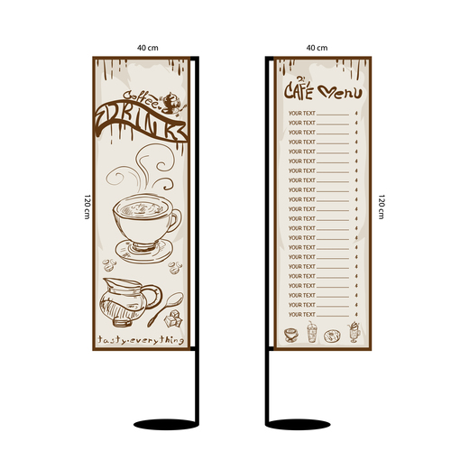 Menu cafe banner flag template vector 17
