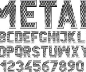 Metal number and alphabet vector design