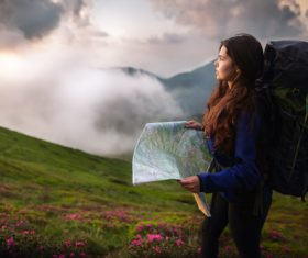 Mountaineering tourist woman Stock Photo