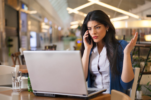 Ms received an unpleasant call Stock Photo