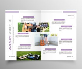 Music brochure template purple styles vector 01