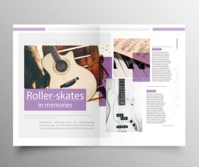 Music brochure template purple styles vector 02