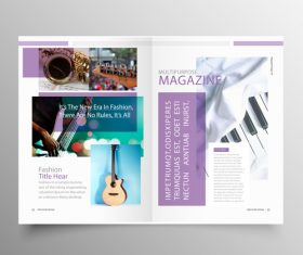 Music brochure template purple styles vector 03