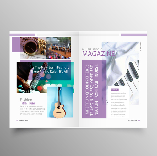 music brochure templates - music brochure template purple styles vector 03 free download