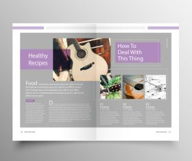 Music brochure template purple styles vector 04
