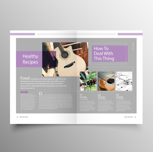 Music Brochure Template Purple Styles Vector 04 Free Download