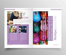 Music brochure template purple styles vector 05
