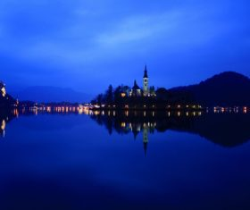 Night lake landscape lights Stock Photo
