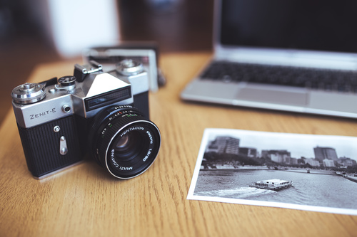 Old camera and picture Stock Photo