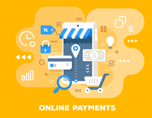 Online payments business flat template vector