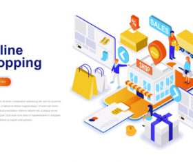 Online shopping isometric concept template vector
