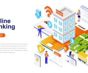 Onlines banking isometric concept template vector
