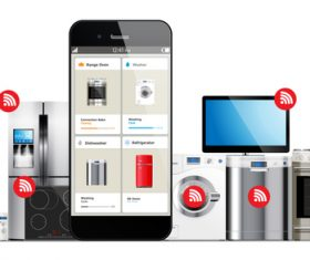 Onlines shopping with household appliances vector 01