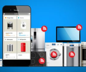 Onlines shopping with household appliances vector 02