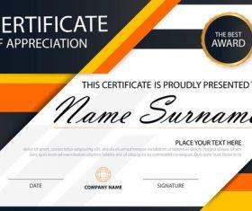 Orange certificate template design vectors 01