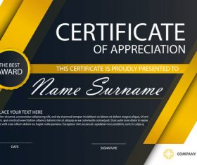 Orange certificate template design vectors 02