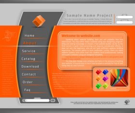 Orange with gray style website template vector