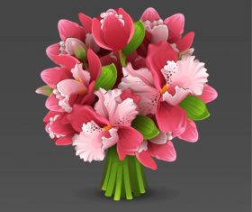 Orchid bouquet vector