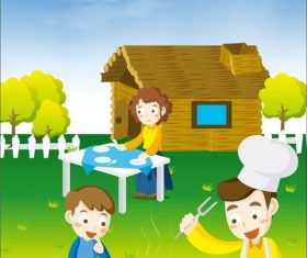 Outdoor barbecue vector