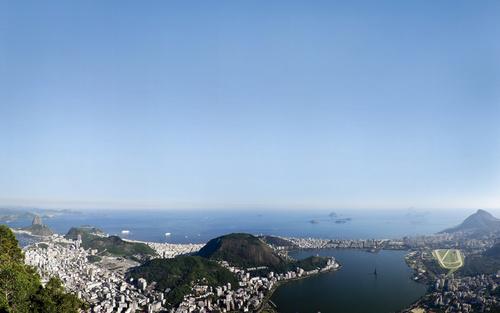 Overlooking coastal city Stock Photo