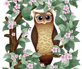 Owl illustration vector material