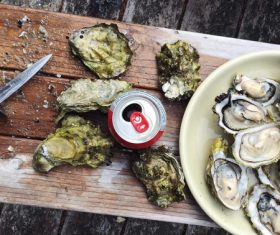 Oysters and drinks on chopping board Stock Photo