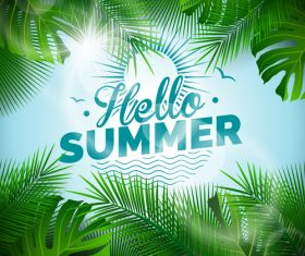 Palm tree leaves summer background vector