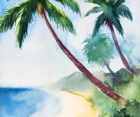 Palm tree with sea watercolor painting vector background 01
