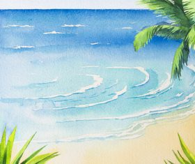 Palm tree with sea watercolor painting vector background 02