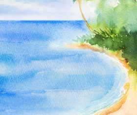 Palm tree with sea watercolor painting vector background 03