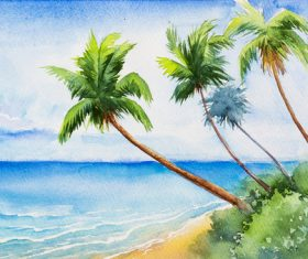 Palm tree with sea watercolor painting vector background 06