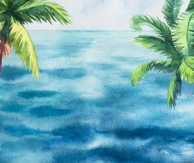 Palm tree with sea watercolor painting vector background 07