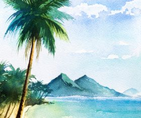 Palm tree with sea watercolor painting vector background 08