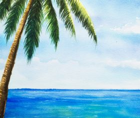 Palm tree with sea watercolor painting vector background 09
