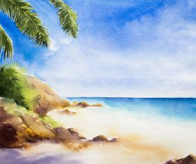 Palm tree with sea watercolor painting vector background 10