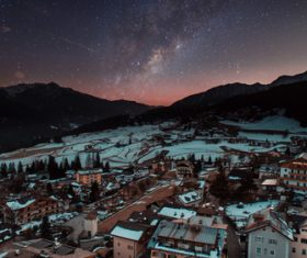 Peaceful town in winter at night Stock Photo