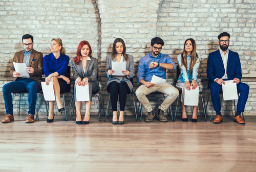 People waiting for a job interview Stock Photo