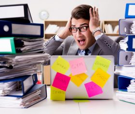People who collapse under the pressure of overwork Stock Photo 01