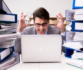 People who collapse under the pressure of overwork Stock Photo 03