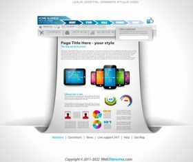 Phone website template vector